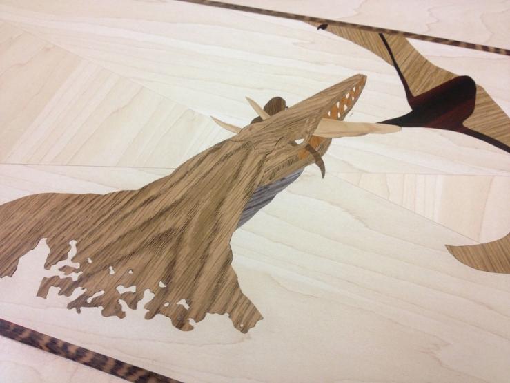 Pannello Fantasia_Scena acquatica dettaglio_legno rivestito da intarsi in PVC_117x45 cm_2014
